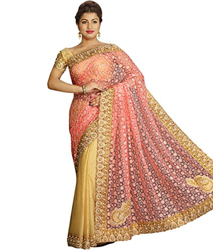 Indian Ethnic Net and Lycra Peach and Beige Fancy Saree S...