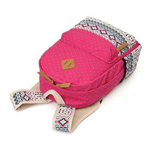 OURBAG Lona Mochila Bolsas de hombro Billetera 3PCS fijaron para mujeres (2PCS)Azul marino Rosa