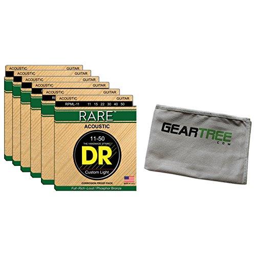 - 6 Sets of DR Strings RPML-11 11-50 Rare Phosphor Bronze Acoustic Guitar Strings