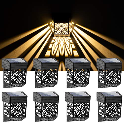 Solpex Solar Fence Lights, 8 Pack, Outdoor Décor, Unique Pattern, LED Waterproof Outside DeckLights, Automatic Decorative, Deck, Patio, Stairs, Yard, Steps, Wall, Path & Driveway (Warm White).
