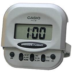 Casio PQ-30-8DF Compact Digital Beep Alarm Clock - Silver