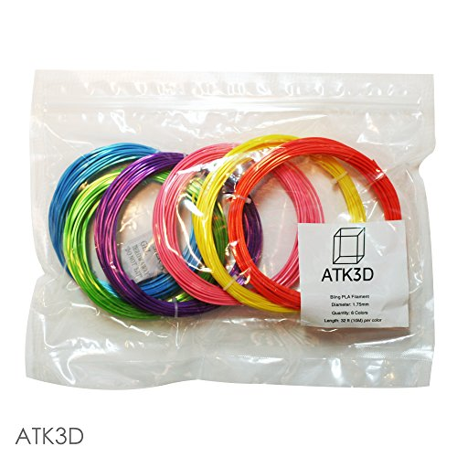 3D Pen Printer Filament Refills | PLA PRO Advanced High Strength Shiny Gloss 3D Printing | 1.75mm Filament Sample Pack of 6 Exclusive Colors | 32 Feet Each Color By ATK3D (Pastel)
