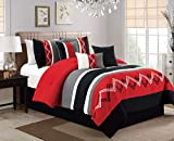 red and white chevron quilt - Arden by Chezmoi Collection - 7 Pieces Modern Pleated Stripe Embroidered Zigzag Bedding Comforter Set (Queen, Red/Gray/Black/Off-White)