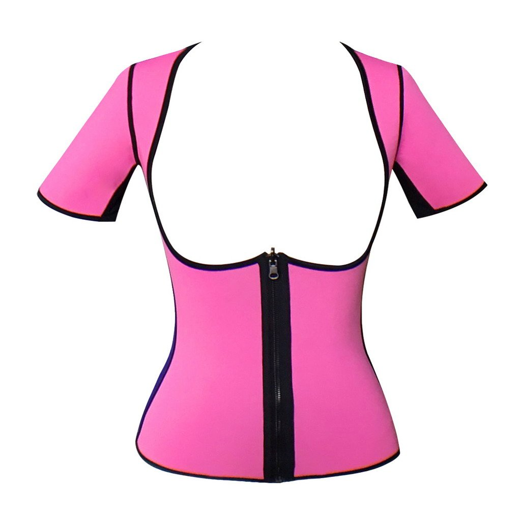 女性スリミングサウナスーツホットサーモ汗ネオプレンベストの重量損失 US S=Tag M ピンク B072KKH9NP