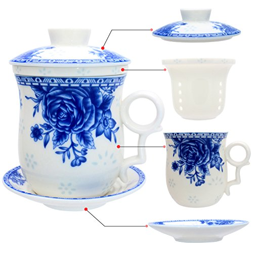 Tea Talent Porcelain Tea Cup with Infuser Lid and Saucer Sets - Chinese Jingdezhen Ceramics Coffee Mug Teacup Loose Leaf Tea Brewing System for Home Office Sand Tea Saucer