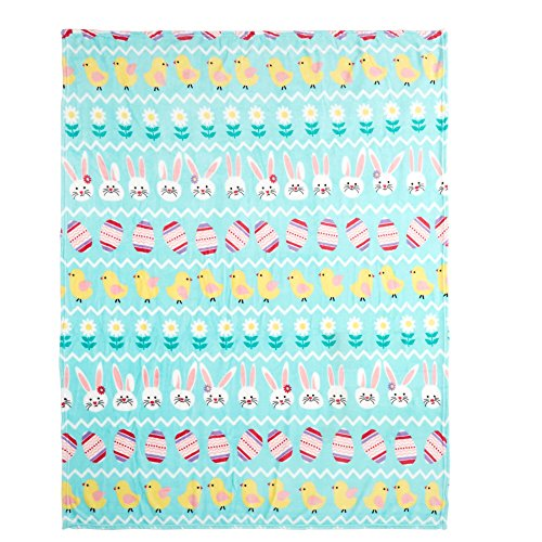 Bunny Throw (Morgan Home Show Me Bunny Easter Bunny Eggs Chicks Soft & Cozy Plush Throw Blanket, 50-inch X 60-inch)