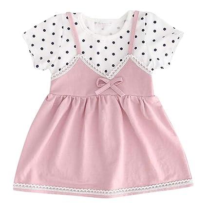 1c04fa71b607a Amazon.com: EnjoCho Infant Kid Baby Girl Short Sleeve Tulle Dot ...