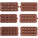 6-PACK Silicone Gel Non-stick Chocolate, Jelly and Candy Mold, 15 Cavities Each, Bon-Bon Cake Baking Mold (Set of 6, Different Styles)
