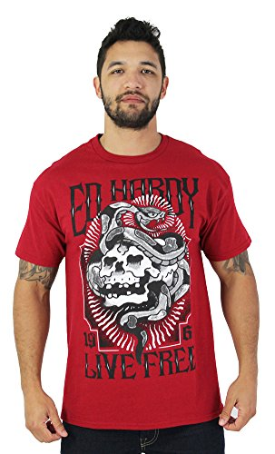 Ed Hardy Men's Tattoo Graphic Tee T-Shirt Assorted Styles Red Size L