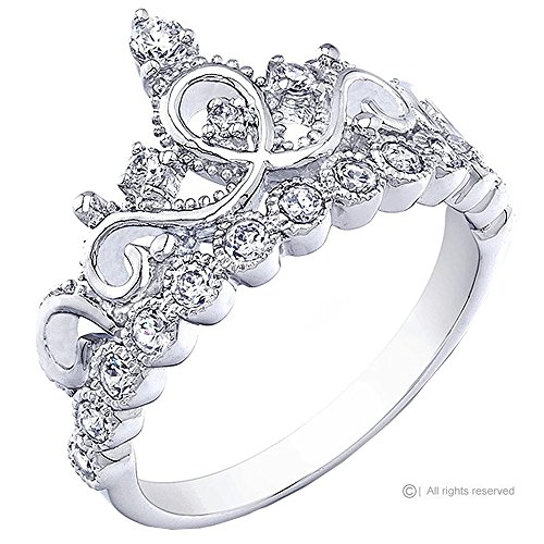 Rhodium-plated Sterling Silver Crown Rings / Princess Ring (8) (Crown Ring Sterling Silver compare prices)