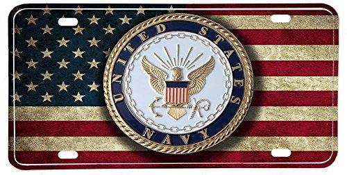 US Navy Emblem Distressed Colors American Flag Aluminum License Plate ()