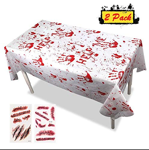 Graduation Party Tablecloths - Plastic Zombie Bloody Decorations Handprints Tablecovers Scary Boy Themed Birthday Supplies Hospital Nurses Day Décor Gift Table Cover Blood Splatter (2 Pack)]()