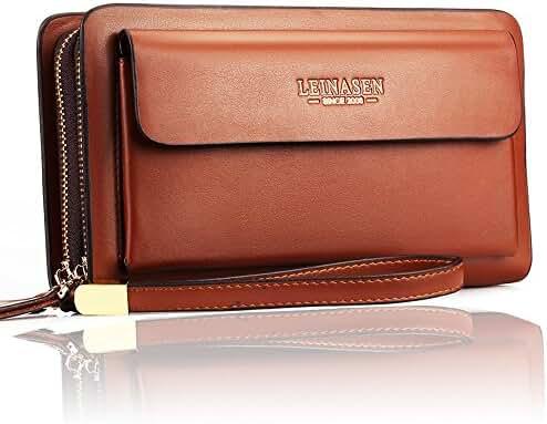 Sllybo Men's PU Leather Clutch Wallet Purse Handbag Business Organizer Long Holder Bag