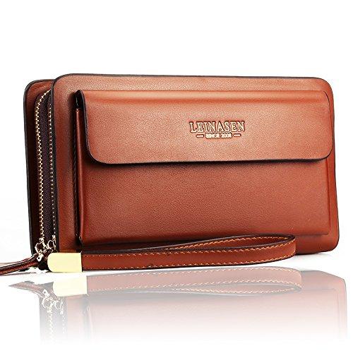 Checkbook Organizer Wallet - Sllybo Men Clutch Bag Business Handbag Wallet for Men Organizer Zipper Checkbook Wrist Bag, Style 02-brown, Medium