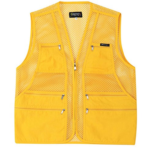 myglory77mall Men's Multi Pockets Fly Fishing Hunting Mesh Vest Outdoor Jacket XL US(3XL tag Asian) Yellow