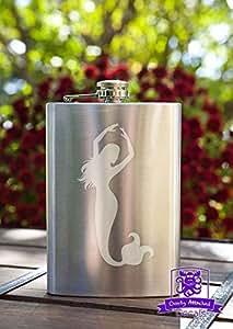 Dancing Mermaid 8 Ounce Stainless Steel Flask