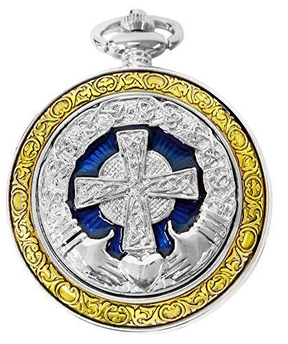 Celtic Womens Watch - Celtic Pocket Watch Irish Claddagh Cross Motif Case Roman Numerals with Chain Steampunk PW-75