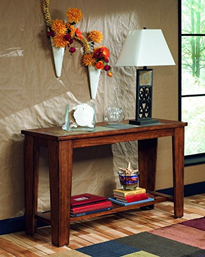 Ashley Furniture Signature Design - Toscana Sofa Table - Wood with Natural Slate Tiles and Lower Shelf - Vintage Casual - Rustic Brown