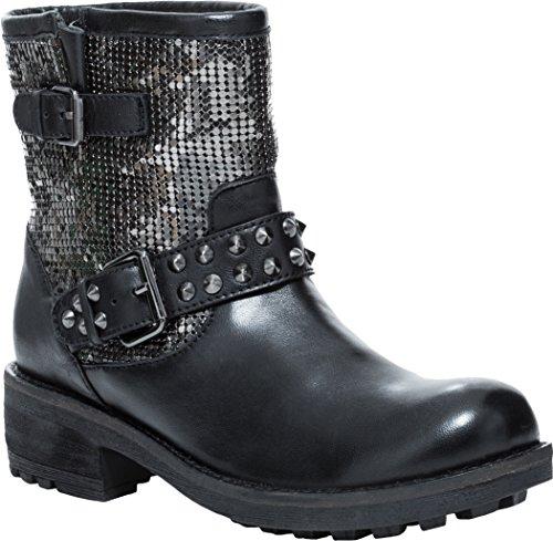 [Cavalone Gala Women's Biker Buckle Boots with Studs, Black Gunmetal, 38] (Biker Buckle)