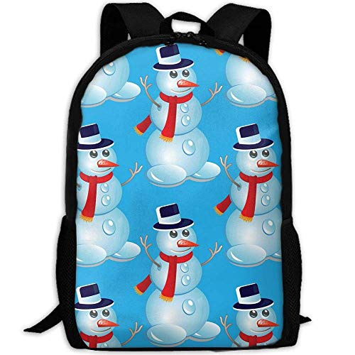 Christmas Seamless Pattern with Snowman Fashion Backpacks School BookBags,Unisex Travel Hiking Lightweight Waterproof Daypack Laptop Bag (Snowman Unisex)