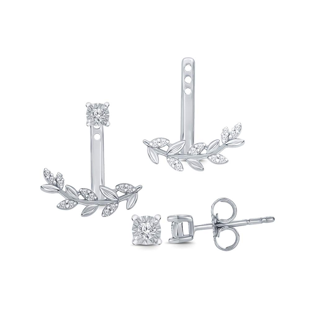 1/10 ct Round Natural Diamond 925 Sterling Silver Fancy Leaf Jacket Cuff Stud Diamond Earring