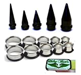 15 Pc Huge Tapers Ear Stretching Kit Black Tapers and Surgical Steel Tunnels 0g-1 inch Holey Butt'r