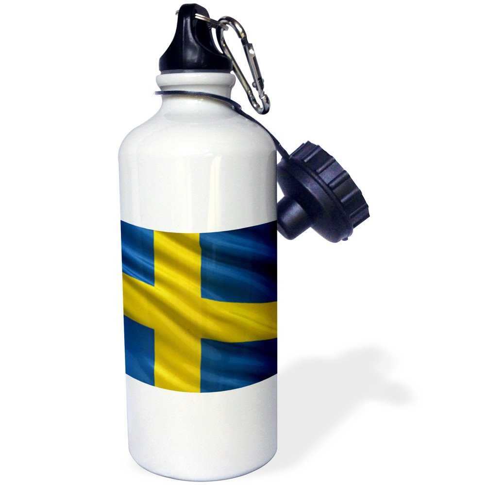 3dRose wb/_180284/_1 Flag Of Sweden Waving In The Wind Sports Water Bottle 21 oz Multicolor