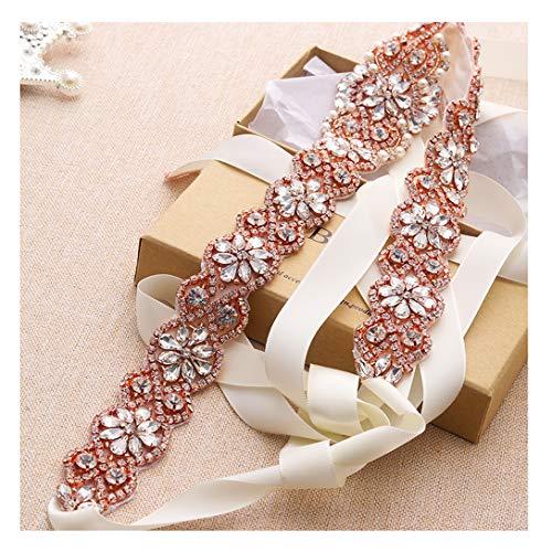 Yanstar Handmade Rose Gold Crystal Rhinestone Wedding Belts For Bridal Gowns Ivory Ribbons