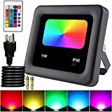 Remon 15W RGB LED Flood Lights, Color Changing Floodlight with Remote Control, 16 Colors 4 Modes Dimmable Wall Washer Light IP66 Waterproof, Indoor Outdoor Decorative Garden for Christmas Garden (Color: Black, Tamaño: 15W - RGB)