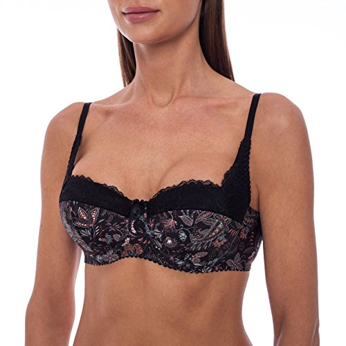 frugue Women's Sexy Push Up Balconette Lace Shelf Bra Black Stripped 40 D