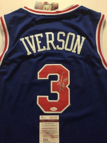 "a57c65ff73f Autographed Signed Allen Iverson ""HOF 16"" Philadelphia 76ers Sixers Blue Retro  Basketball Jersey JSA COA"