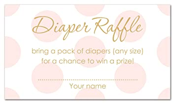 48 polka dots gold baby shower raffle cards pink