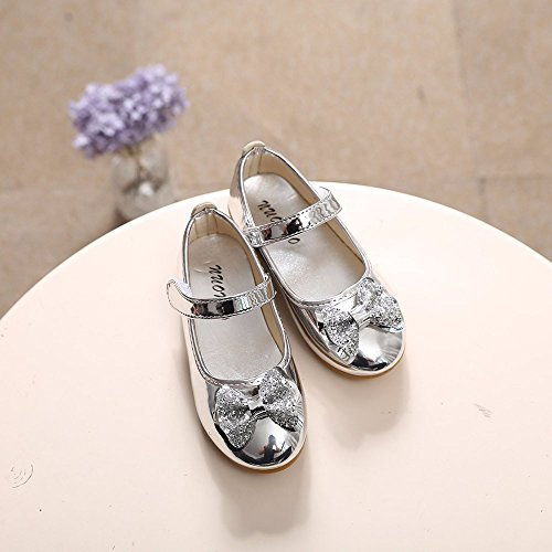 Sparkle Princess Shoes for Girls Sequin Bowknot Flat Shoes Children Velcro Shinning Shoes Mary Jane Princess Party Dress Shoes for Toddlers & Girls by DaoAG - Shoes (Image #5)