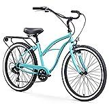 "sixthreezero Around The Block Women's 7-Speed Speed Cruiser Bicycle, Teal Blue w/ Black Seat/Grips, 26"" Wheels/17"" Frame"