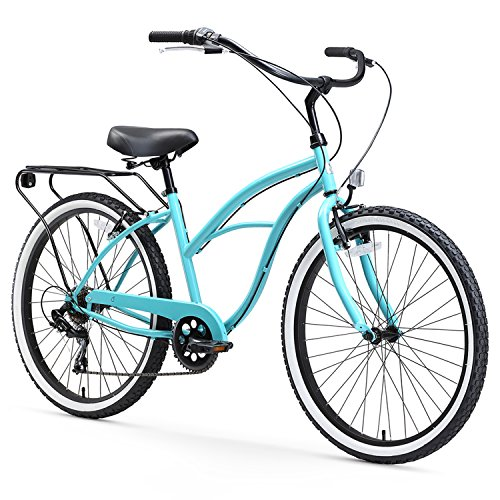 sixthreezero Around The Block Women's 7-Speed Speed Cruiser Bicycle, Teal Blue w/ Black Seat/Grips, 26
