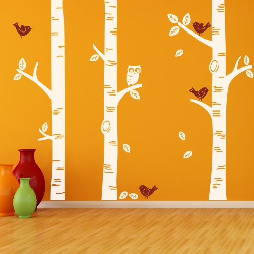 Birch Tree Wall Decal Forest Wall Quote Birds Quotes Tree Deacls Wall Art Sticker Home Decor 2(tree,leaves and owl:White; birds:Dark Red)