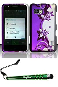 FoxyCase(TM) FREE stylus AND For LG Cayenne Mach LS860 (Sprint Boost) Rubberized Design Case Cover Protector - Purple Silver Vines Desire Safe Phone cas couverture