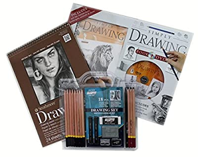 Drawing Set with Sketch Charcoal Graphite Pencils, Strathmore Drawing Pad, DVD with Instruction Book