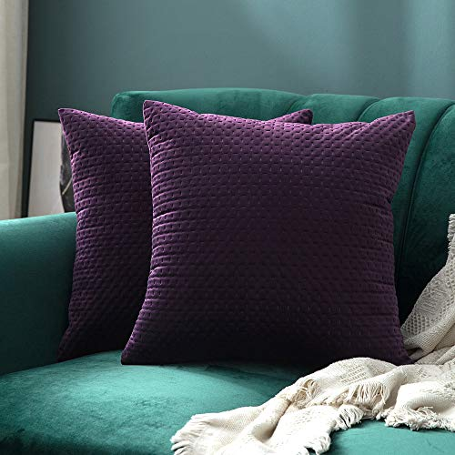 MIULEE Pack of 2 Decorative Velvet Throw Pillow Covers Soft Pattern Soild Eggplant Purple Pillow Cases Luxury Euro Sham Cushion Covers for Sofa Couch Bed 18x18 Inch -