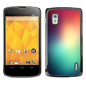 Be Good Phone Accessory // Dura Cáscara cubierta Protectora Caso Carcasa Funda de Protección para LG Google Nexus 4 E960 // Teal Red Glass Stained Lights Dawn Nature
