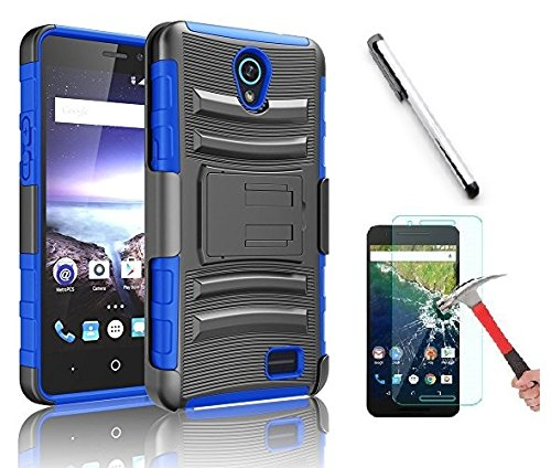 Alcatel IdealXcite Case, Alcatel Verso Case, Alcatel CameoX Case, Alcatel Raven LTE Case, Luckiefind Dual Layer Hybrid Side Kickstand Cover Case Holster Clip Acce. (Holster Blue)