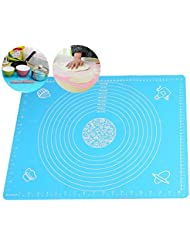 DYQWT Large Massive Pastry Fondant Silicone Work Rolling Baking Mat with Measurements GJD01,Blue