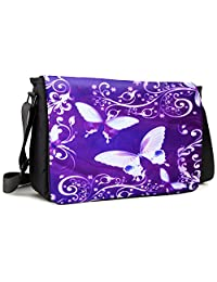 Meffort Inc 17 17.3 Inch Laptop / Notebook Padded Compartment Shoulder Messenger Bag with Shoulder Pad - Purple Butterflies