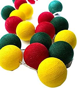 Cotton Ball String LED Light [Yellow, Green & Red]