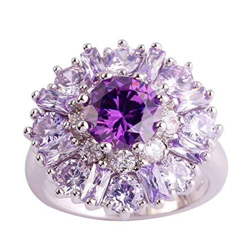 Momius 925 Sterling Silver Created Pink Topaz Filled Cluster Flower Statement Ring (Color : Purple, Size : 7)