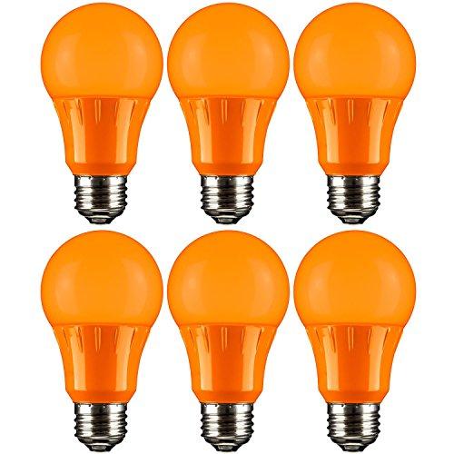 Sunlite A19/3W/O/LED/6PK LED Colored A19 3W Light Bulbs with Medium (E26) Base (6 Pack), Orange