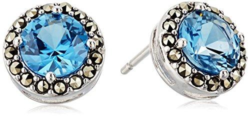 [Judith Jack Sterling Silver/Swarovski Marcasite Blue Stud Earrings] (Judith Jack Marcasite)