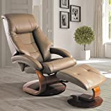 Oslo Collection by Mac Motion Mandal Recliner and Ottoman in Sand Top Grain Leather For Sale