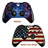 2pcs Skins Stickers for Xbox One Games Controller - Custom Xbox 1 Remote Controller Wired Wireless Protective Vinyl Decals Cover - Leather Texture Protector Accessories - Battle Torn Strip&Nebula