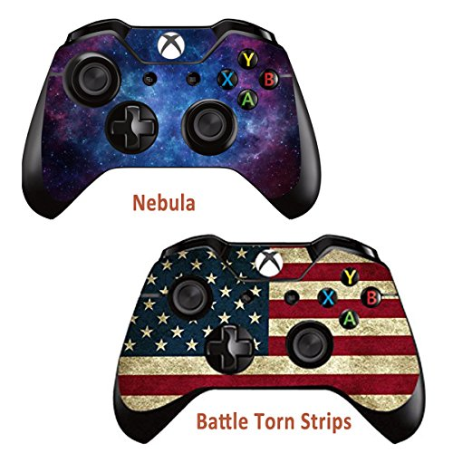 Cheap 2pcs Skins Stickers for Xbox One Games Controller – Custom Xbox 1 Remote Controller Wired Wireless Protective Vinyl Decals Cover – Leather Texture Protector Accessories – Battle Torn Strip&Nebula
